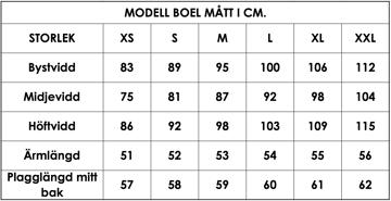 Måttlista modell Boel