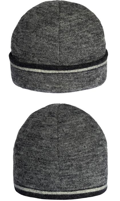 Mössa i filtad ull – Melange rand grå