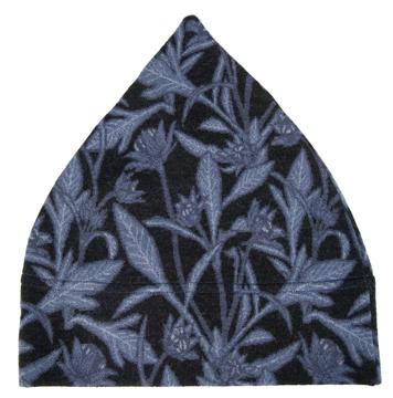 Barnmössa 3-6 år Storblommig svart blå