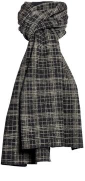 Halsduk i filtad ull – Tunn ruta svartbeige