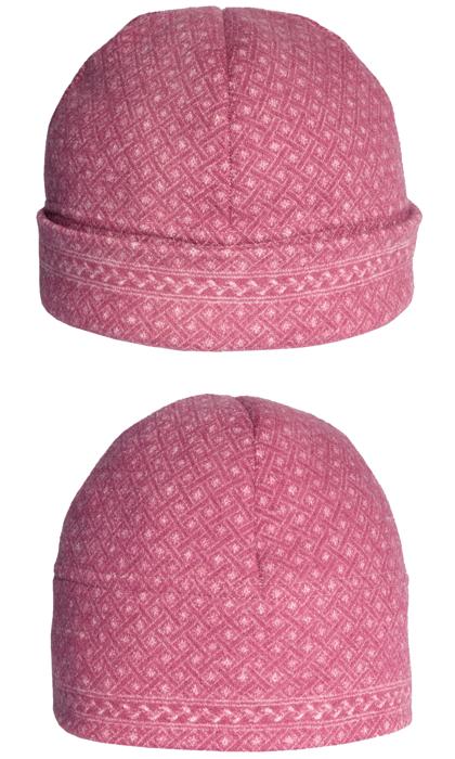 Mössa i filtad ull – Stjärnväv rosa