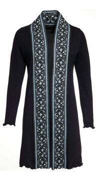 Ullkofta Maria Isfahan bård svart/blå